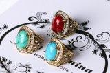 Anéis de dedo de cristal Nnk-3 da forma do Mens das mulheres de turquesa do vintage