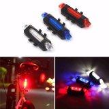 Portable 5 LED USB MTB 도로 자전거 테일 빛 재충전용 안전 경고 자전거 후방 빛 램프 순환 자전거 부속품
