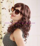 브라운 색깔을%s 가진 긴 꼬부라진 합성 머리 가발