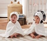 動物のフードが付いている熱い販売100%年のポリエステル赤ん坊毛布
