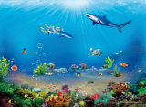 La pintura al óleo impresa Digitaces del mundo del océano para la decoración casera