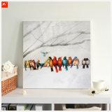Pintura al óleo de los pájaros coloridos con el marco para la decoración