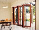 Aluminiumbi-Falz-Tür-hölzerne Farbe mit einzelnem doppeltem Glas