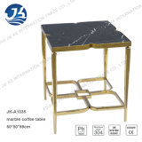 Satin Gold Stainless Steel Marble Side Table Flower Tabl