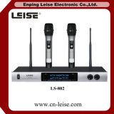 Microphone de radio de fréquence ultra-haute de professionnel des canaux Ls-802 doubles