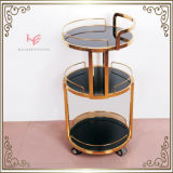 Carrello di servizio del vino dell'hotel del carrello della bevanda della mobilia dell'acciaio inossidabile del carrello della barra del carrello del liquore (RS150502)