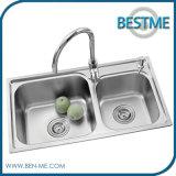 Dispersore d'acciaio degli articoli della ciotola sanitaria del doppio per la cucina (BS-8004)