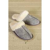 Caliente invierno piel de oveja Fur Collar mujeres interior zapatilla