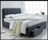 Кровать размера ферзя ткани с ящиком