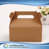 Rectángulo de empaquetado plegable ambiental del papel de Kraft para la torta del alimento (xc-fbk-044A)