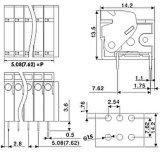 Bloco de Teminal da mola com o encabeçamento duplo do Pin para o afastamento do Pin de 5.08mm ou de 7.62mm