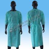 ゴムまたは編まれた袖口が付いているEo殺菌したPPの訪問者の手術衣