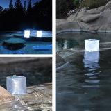 Linterna que acampa inflable plegable impermeable ligera solar de la energía solar del PVC del precio de seguridad del cubo al aire libre barato del alumbrado 10 LED con el indicador llano de la batería