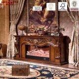 Tallado de lujo sólido de madera chimenea eléctrica Mantel (GSP15-001)