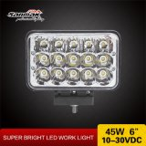 lumières pilotantes rectangulaires de la haute énergie x6 '' DEL de la lumière 4 du travail 45W ''