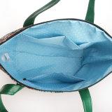 Sac d'épaule floral de traitement de vert de toile de PVC de configurations (99189-3)