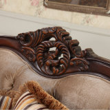 Sofá clássico estofos com moldura de madeira