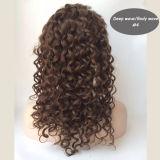 Parrucca piena spessa superiore di seta del merletto dei capelli umani della pelle bionda brasiliana