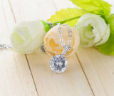El collar redondo de cobre amarillo de Aniversary CZ para las mujeres vende al por mayor (CNL0223-B)
