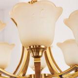 مدلّاة يشعل مترف برونزيّ لون ثريا ضوء مع زهرة شكل زجاجيّة [د-6115/3]