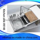 Dissipador de cozinha do aço inoxidável da exportação com a prateleira da placa e da faca