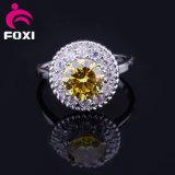 피복 부속품을%s 금관 악기 꽃 디자인 5 색깔 여자 CZ 금 보석 반지
