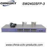 24 puertos RJ45 + conmutador Gigabit Ethernet de 1000Mbps de 2SFP (SW2402SFP-3)