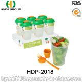 Практически пластичный контейнер салата с вилкой и чашкой одевать (HDP-2018)