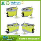 360 fregona, pequeño pedal del pie del compartimiento de la fregona de la limpieza verde