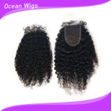 человеческие волосы 100% 7A Virgin Peruvian Afro Kinky Curl Slik Top Lace Closure Free Part