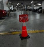 정지 표시를 가진 소통량 콘, 빨간 PVC 도로 안전 콘