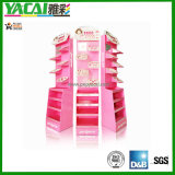 Pappe Adversting Cosmetic Floor Display Shelf mit Full Color Printed, Free Standing Display Racks
