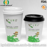 Taza de papel del café disponible de Corrugted, taza del papel de empapelar de la ondulación (12oz)