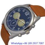Cronógrafo azul de Japão do seletor da faixa do couro do relógio dos homens Top-Quality de quartzo da liga (15172)