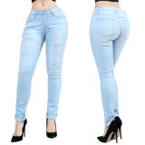 Soem-Form-Dame-hohe Taillen-dünne Denim-Jeans