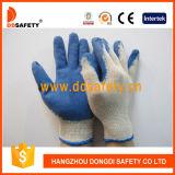 Guante de trabajo Finished liso Dkl315 de la seguridad del amarillento del T/C del látex azul económico del shell