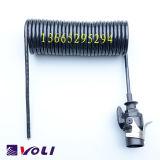 fio espiral dos cabos 5-Core Coiled para o reboque ou o caminhão com plugues