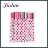 Brilhante papel de arte laminado Dots & Tripes Shopping Gift Paper Bag