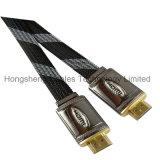 Cable plano de la cubierta de aluminio HDMI con el acoplamiento de nylon