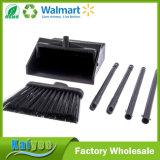 Conjunto plegable del recogedor de polvo del pasillo de la escoba, altura total de 3 pies, negra