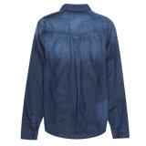 Blusa larga del vestido del dril de algodón de la manera de la manga de las señoras