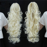 Ponytail profondo alla moda dello Synthetic della parrucca della clip dell'artiglio della fibra dei capelli ricci