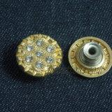 Кристаллический плакировка золота извлекает кнопку металла для джинсовой ткани