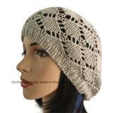 Nuevo sombrero de acrílico encantador de la gorrita tejida del algodón de los cabritos y de las mujeres con Earflap y la guarnición del paño grueso y suave