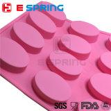 楕円形の形のピンクカラー石鹸の皿型のシリコーンのケーキ型のベーキング型