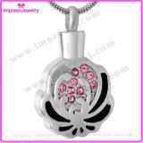 Pendentes das colares do Urn da jóia da cremação de Bisuteria Mujer para a forma da flor das cinzas com cristais