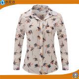 Fabrik-Baumwollblusen-lange Hülsen-Frauen-Hemd-beiläufige Drucken-Bluse