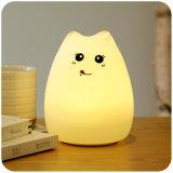 As crianças favorecem a forma animal encantadora a luz animal do brinquedo, lâmpada bonito pequena da base de bebê do gato com material do silicone