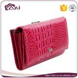 Signora rossa Leather Wallet della pelle del coccodrillo di Fani Rosa