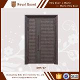 Porta de entrada de alumínio/porta entrada dobro com projeto da grade de porta do travessão/casa